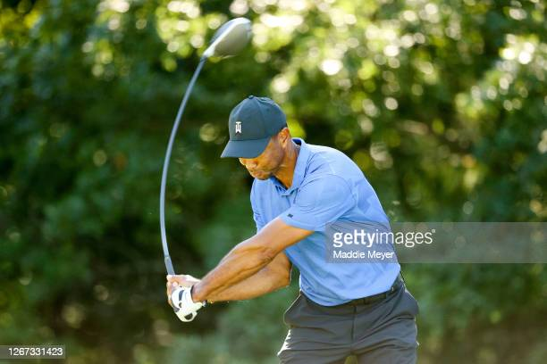 Tiger Woods of the United States plays his shot from the 14th tee during the first round of The Northern Trust at TPC Boston on August 20, 2020 in...