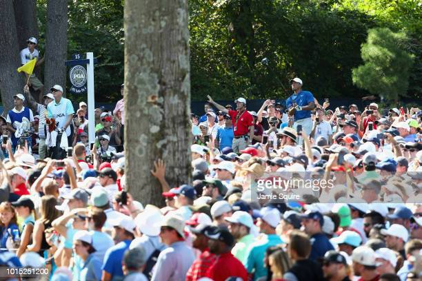 Tiger Woods of the United States plays his shot from the 15th tee during the third round of the 2018 PGA Championship at Bellerive Country Club on...