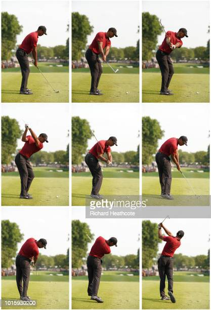 Tiger Woods of the United States plays his shot from the 16th tee during the final round of the 2018 PGA Championship at Bellerive Country Club on...