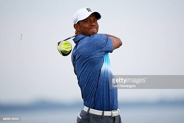 Tiger Woods of the United States plays his shot from the 16th tee during the first round of the 2015 PGA Championship at Whistling Straits on August...