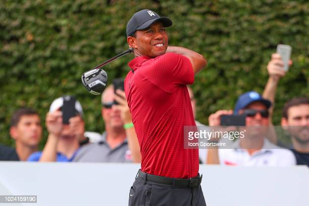 Tiger Woods of the United States plays his shot from the 17th tee during the Final Round of The Northern Trust on August 26 2018 at the Ridgewood...