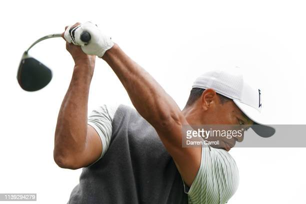 Tiger Woods of the United States plays his shot from the eighth tee during the fourth round of the World Golf ChampionshipsDell Technologies Match...
