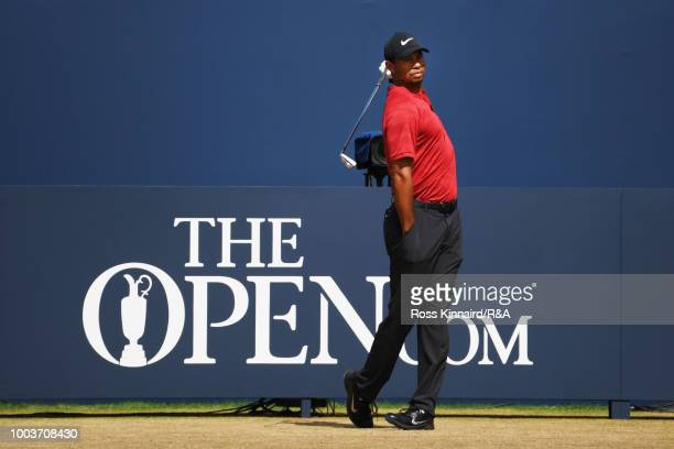 Tiger Woods of the United States plays his shot from the fifth tee during the final round of the 147th Open Championship at Carnoustie Golf Club on...