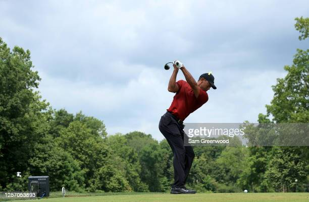 Tiger Woods of the United States plays his shot from the fifth tee during the final round of The Memorial Tournament on July 19 2020 at Muirfield...