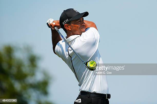 Tiger Woods of the United States plays his shot from the first tee during the second round of the 2015 PGA Championship at Whistling Straits on...