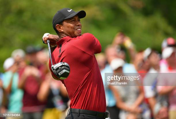 Tiger Woods of the United States plays his shot from the fourth tee during the final round of the 2018 PGA Championship at Bellerive Country Club on...