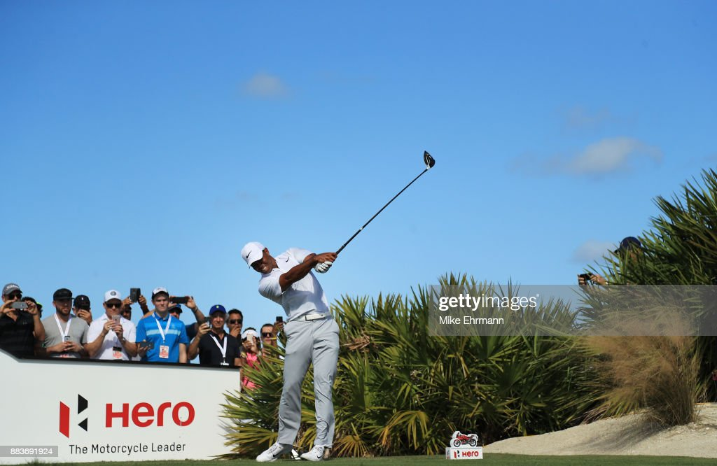 Tiger Woods of the United States plays his shot from the fourth tee during the second round of the Hero World Challenge at Albany, Bahamas on December 1, 2017 in Nassau, Bahamas.