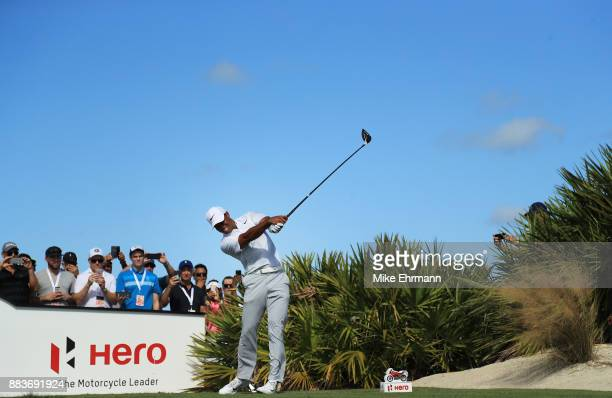 Tiger Woods of the United States plays his shot from the fourth tee during the second round of the Hero World Challenge at Albany Bahamas on December...
