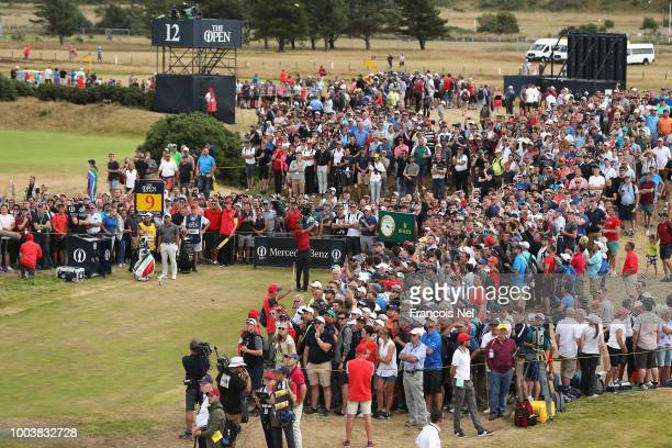 Tiger Woods of the United States plays his shot from the ninth tee during the final round of the 147th Open Championship at Carnoustie Golf Club on...