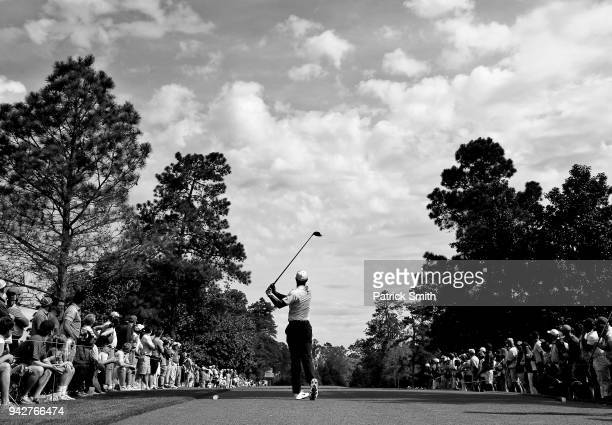 Tiger Woods of the United States plays his shot from the ninth tee during the second round of the 2018 Masters Tournament at Augusta National Golf...