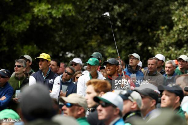 Tiger Woods of the United States plays his shot from the ninth tee during the final round of the 2018 Masters Tournament at Augusta National Golf...