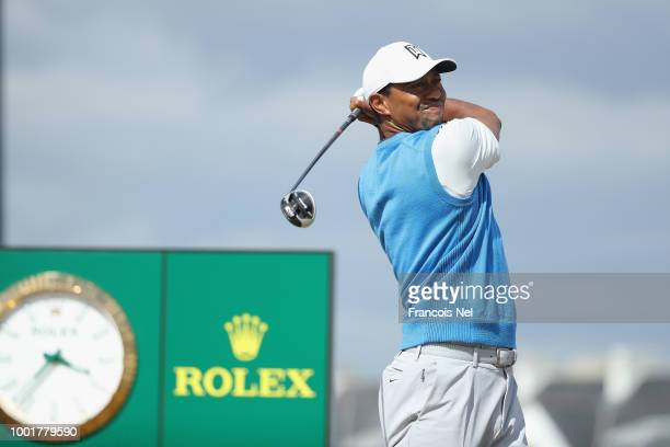 Tiger Woods of the United States plays his shot from the second tee during the first round of the 147th Open Championship at Carnoustie Golf Club on...
