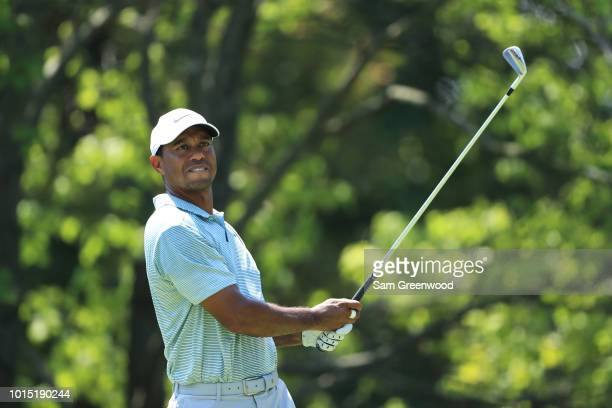 Tiger Woods of the United States plays his shot from the second tee during the third round of the 2018 PGA Championship at Bellerive Country Club on...