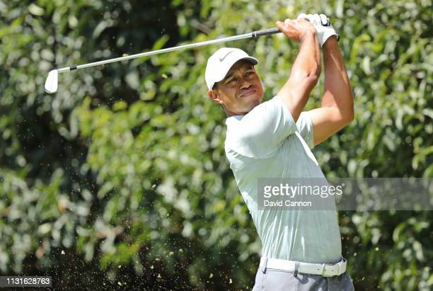 Tiger Woods of the United States plays his shot from the second tee during the third round of World Golf ChampionshipsMexico Championship at Club de...