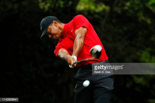 Tiger Woods of the United States plays his shot from the second tee during the final round of the Masters at Augusta National Golf Club on April 14...