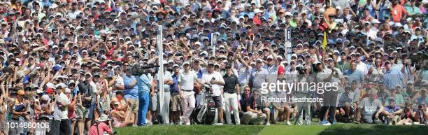 Tiger Woods of the United States plays his shot from the sixth tee during the second round of the 2018 PGA Championship at Bellerive Country Club on...