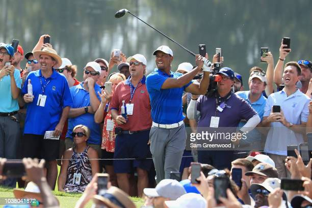 Tiger Woods of the United States plays his shot from the sixth tee during the third round of the TOUR Championship at East Lake Golf Club on...