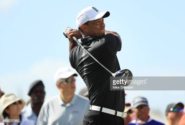 Tiger Woods of the United States plays his shot from the sixth tee during the first round of the Hero World Challenge at Albany Bahamas on November...