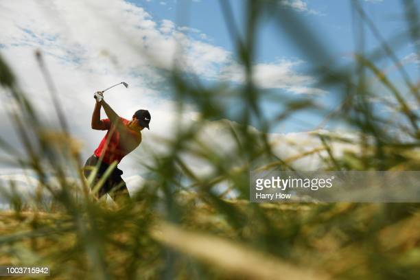 Tiger Woods of the United States plays his shot from the third tee during the final round of the 147th Open Championship at Carnoustie Golf Club on...