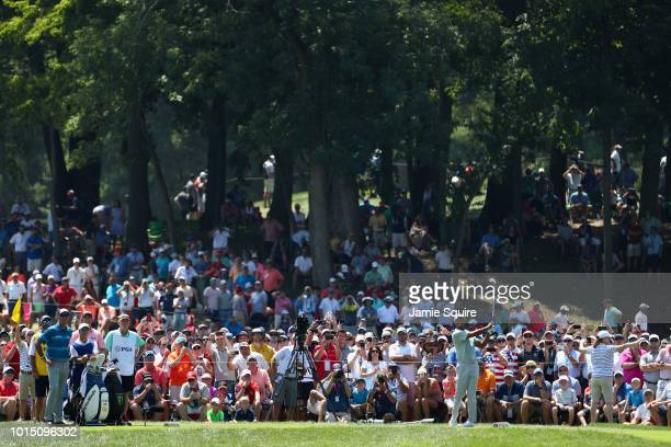 Tiger Woods of the United States plays his shot from the third tee during the third round of the 2018 PGA Championship at Bellerive Country Club on...