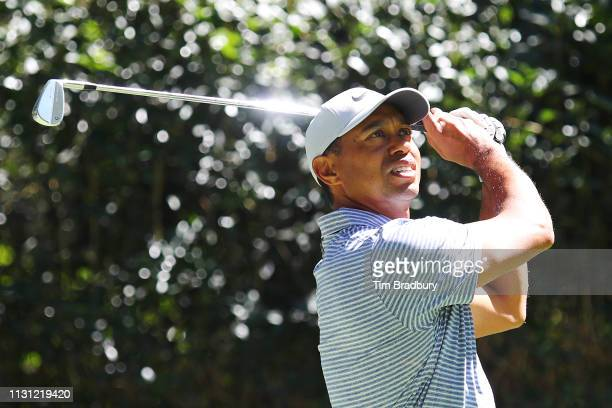 Tiger Woods of the United States plays his shot from the third tee during the first round of World Golf Championships-Mexico Championship at Club de...