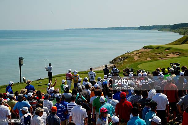 Tiger Woods of the United States plays his shot from the third tee during the second round of the 2015 PGA Championship at Whistling Straits on...