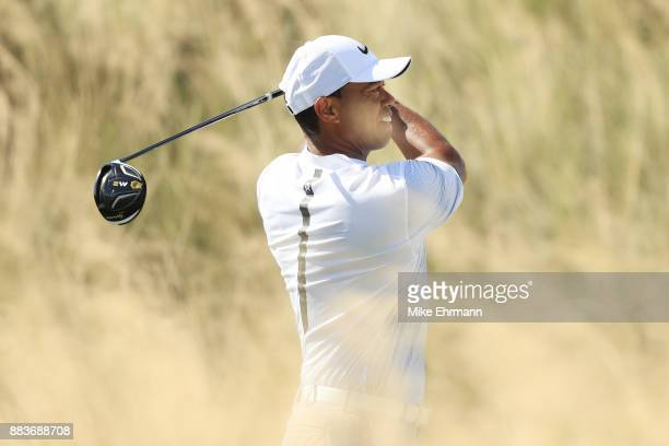 Tiger Woods of the United States plays his shot from the third tee during the second round of the Hero World Challenge at Albany Bahamas on December...