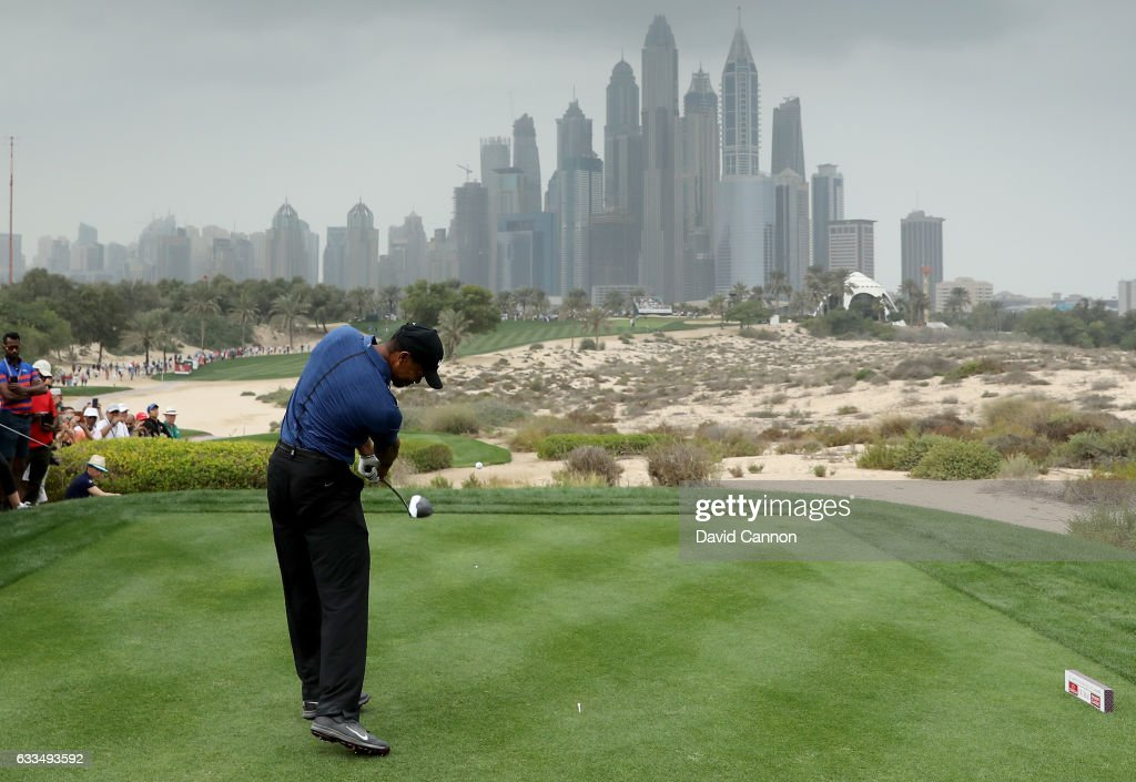 Tiger Woods of the United States plays his tee shot to the par 4, eighth hole during the first round of the 2017 Omega Dubai Desert Classic on the Majlis Course at the Emirates Golf Club at Emirates Golf Club on February 2, 2017 in Dubai, United Arab Emirates.