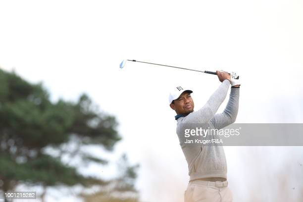 Tiger Woods of the United States plays on the 11th hole as he practices during previews to the 147th Open Championship at Carnoustie Golf Club on...