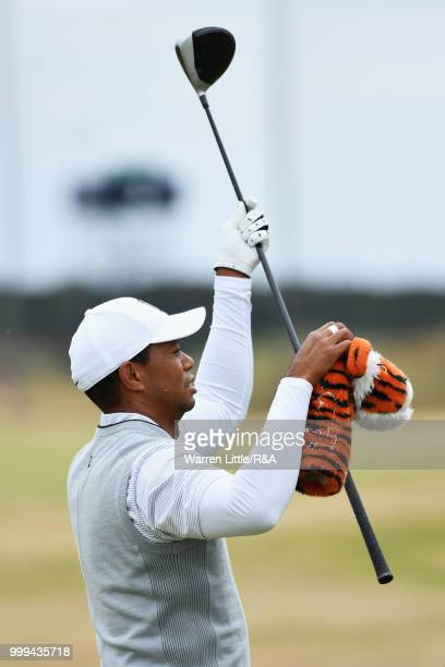 Tiger Woods of the United States practices on the driving range during previews to the 147th Open Championship at Carnoustie Golf Club on July 15...