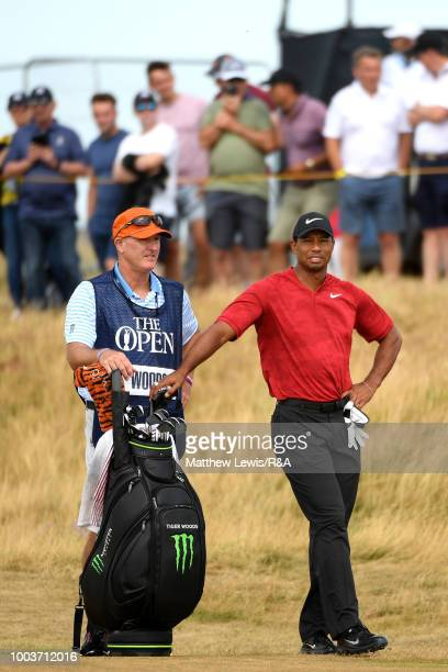 Tiger Woods of the United States prepares to play his second shot on the 2nd hole during the final round of the Open Championship at Carnoustie Golf...