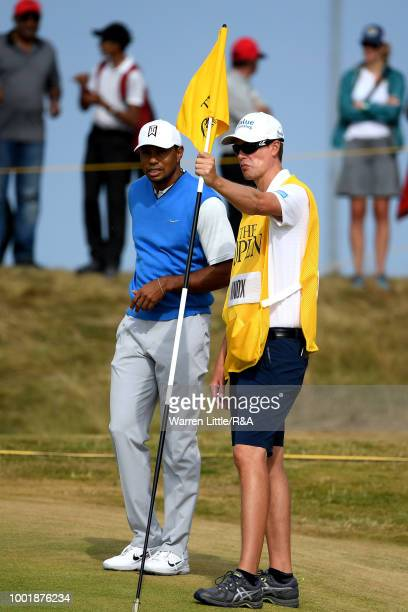 Tiger Woods of the United States prepares to putt on the 5th green during round one of the 147th Open Championship at Carnoustie Golf Club on July 19...