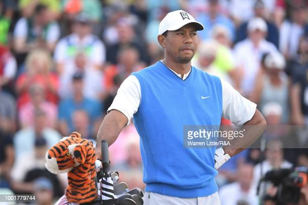 Tiger Woods of the United States prepares to tee off at the 3rd hole during round one of the 147th Open Championship at Carnoustie Golf Club on July...