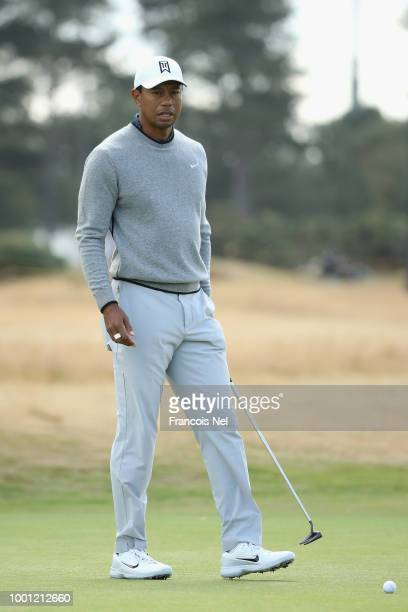 Tiger Woods of the United States putts during previews to the 147th Open Championship at Carnoustie Golf Club on July 18 2018 in Carnoustie Scotland