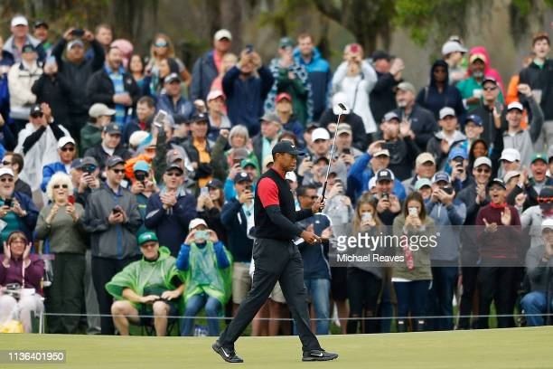 Tiger Woods of the United States reacts after a birdie putt on the seventh green during the final round of The PLAYERS Championship on The Stadium...