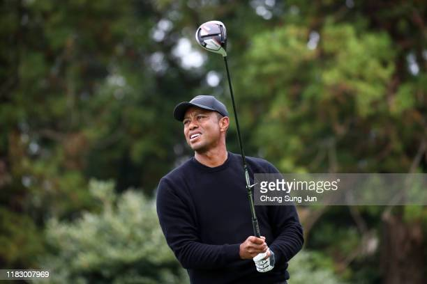 Tiger Woods of the United States reacts after his tee shot on the 12th hole during the first round of the ZOZO Championship at Accordia Golf...