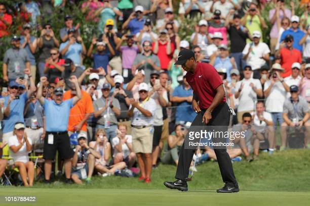 Tiger Woods of the United States reacts after making a putt for birdie on the 12th green during the final round of the 2018 PGA Championship at...