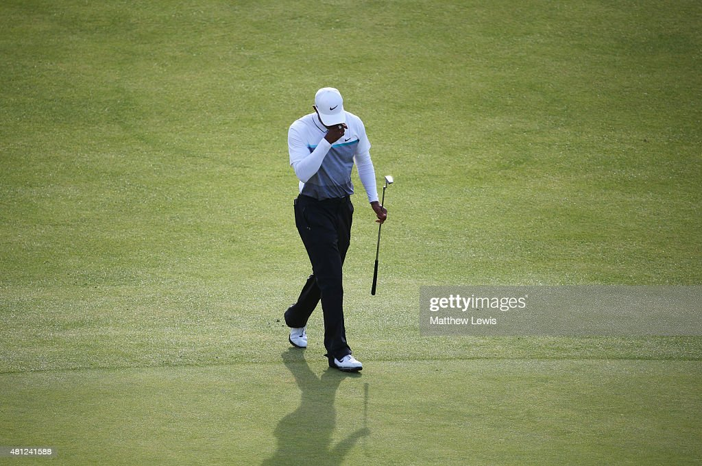 Tiger Woods of the United States reacts on the 18th green during the second round of the 144th Open Championship at The Old Course on July 18, 2015 in St Andrews, Scotland.