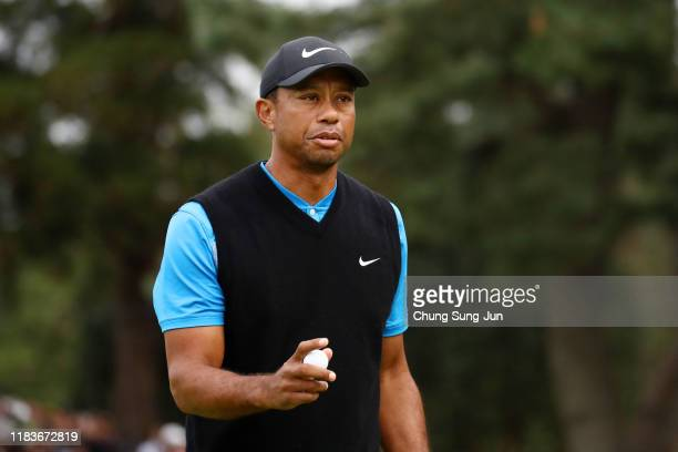 Tiger Woods of the United States reacts on the 9th green during the third round of the Zozo Championship at Accordia Golf Narashino Country Club on...