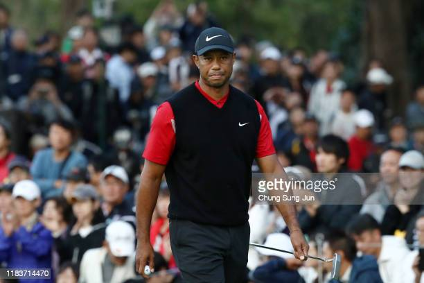 Tiger Woods of the United States reacts on the 9th green during the final round of the Zozo Championship at Accordia Golf Narashino Country Club on...