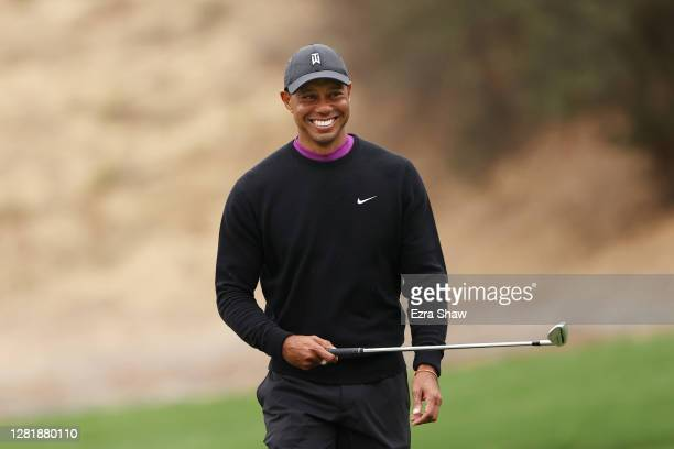 Tiger Woods of the United States reacts on the eighth green during the second round of the Zozo Championship @ Sherwood on October 23, 2020 in...