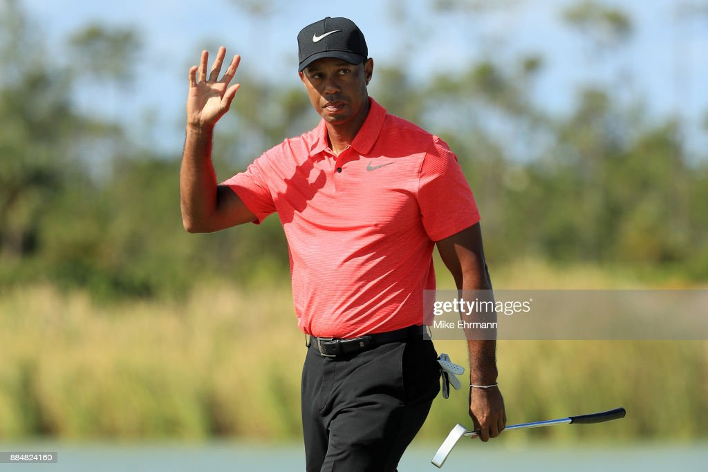 Tiger Woods of the United States reacts on the fourth green during the final round of the Hero World Challenge at Albany, Bahamas on December 3, 2017 in Nassau, Bahamas.