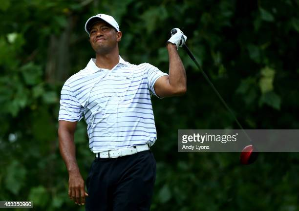 Tiger Woods of the United States reacts on the seventh tee during the second round of the 96th PGA Championship at Valhalla Golf Club on August 8...