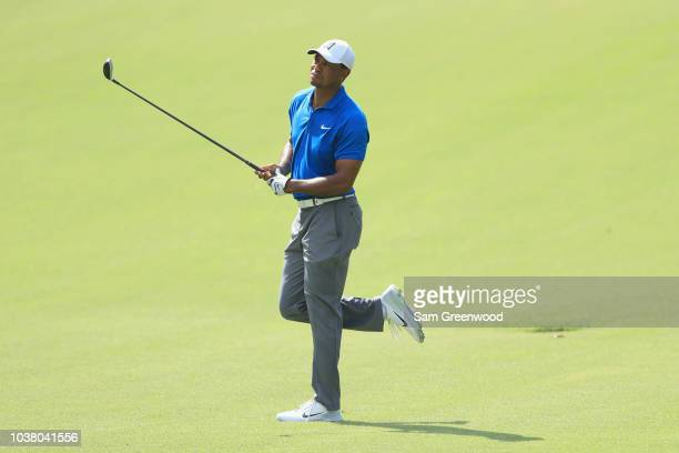 Tiger Woods of the United States reacts on the sixth hole during the third round of the TOUR Championship at East Lake Golf Club on September 22 2018...
