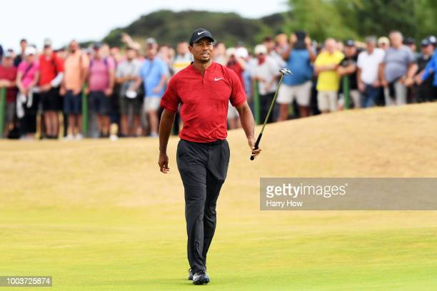 Tiger Woods of the United States reacts to a missed eagle putt on the sixth green during the final round of the 147th Open Championship at Carnoustie...