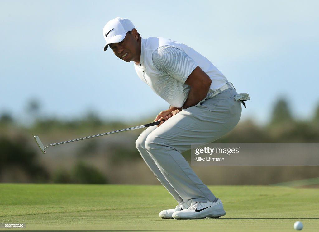 Tiger Woods of the United States reacts to a missed putt on the 12th green during the second round of the Hero World Challenge at Albany, Bahamas on December 1, 2017 in Nassau, Bahamas.