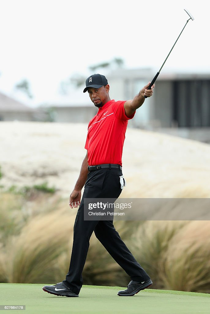 Tiger Woods of the United States reacts to a missed putt on the third hole during the final round of the Hero World Challenge at Albany, The Bahamas on December 4, 2016 in Nassau, Bahamas.