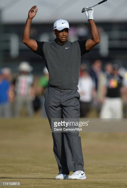 Tiger Woods of the United States reacts to his 2nd shot on the 15th hole during the third round of the 142nd Open Championship at Muirfield on July...