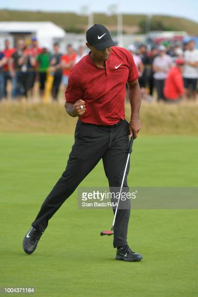 Tiger Woods of the United States reacts to his putt on the 14th hole during the final round of the 147th Open Championship at Carnoustie Golf Club on...