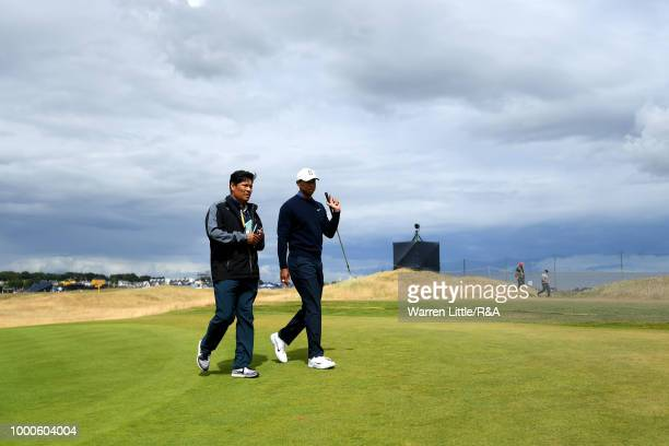 Tiger Woods of the United States seen during previews to the 147th Open Championship at Carnoustie Golf Club on July 17 2018 in Carnoustie Scotland